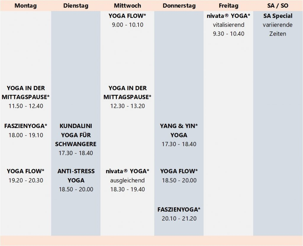 Grupenkurse Yoga bei Yogavaras